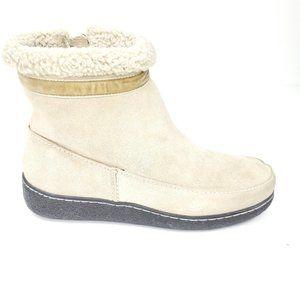 Lands end cream suede fleece side zip boot